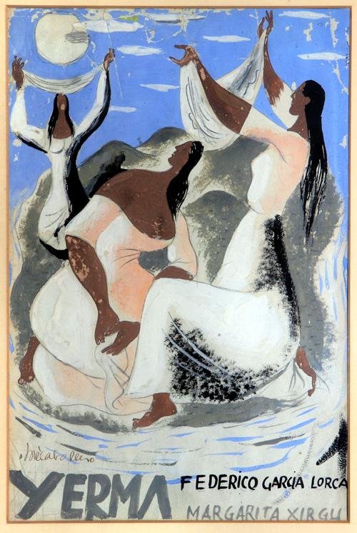 Cartel de 'Yerma' pintado por José Caballero. Foto: Patronato Federico García Lorca.