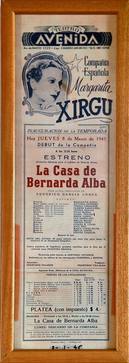 Poster of the premiere in Buenos Aires of 'The House of Bernarda Alba'. Photo: Federico García Lorca Board