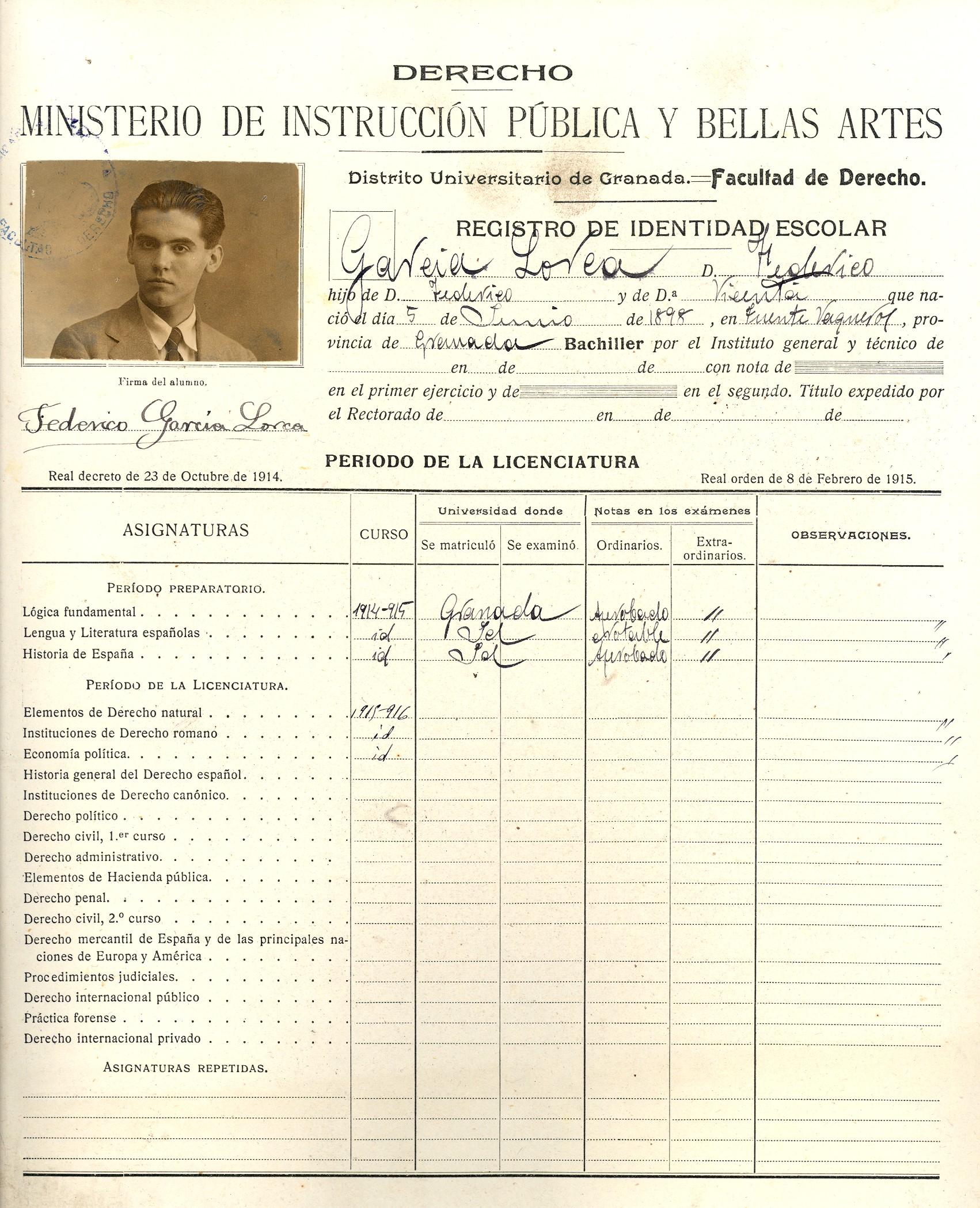 Ficha de García Lorca en la facultad de Derecho. / Foto: Universidad de Granada
