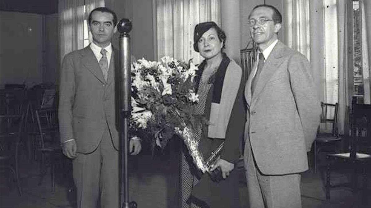 García Lorca, Margarita Xirgu y Rivas Cherif. / Foto: Arxiu Nacional de Catalunya.