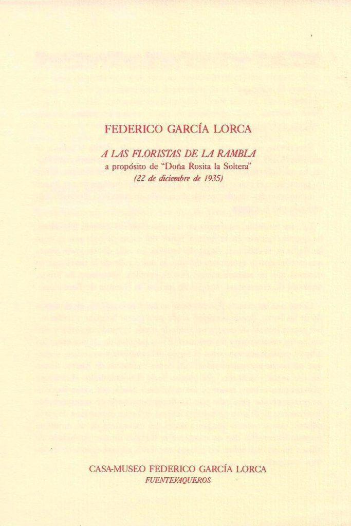 """Edición facsímil del homenaje """"A las floristas de La Rambla"""", editada por la Casa Museo de Fuente Vaqueros."""