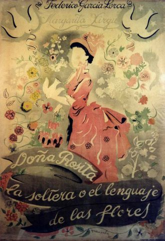 Doña Rosita la Soltera o el lenguaje de las flores. Cartel de Emili Grau Sala. Institut del Teatre de Barcelona y Fondo Antonina Rodrigo.
