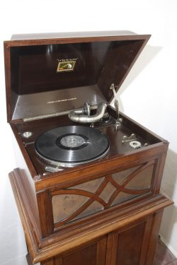 Birthplace Museum of Federico García Lorca in Fuente Vaqueros. Gramophone with a record in the dining-room.