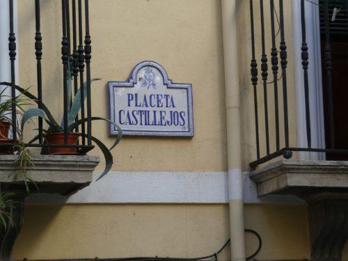 Ceramic plaque of the small Castillejos Square.
