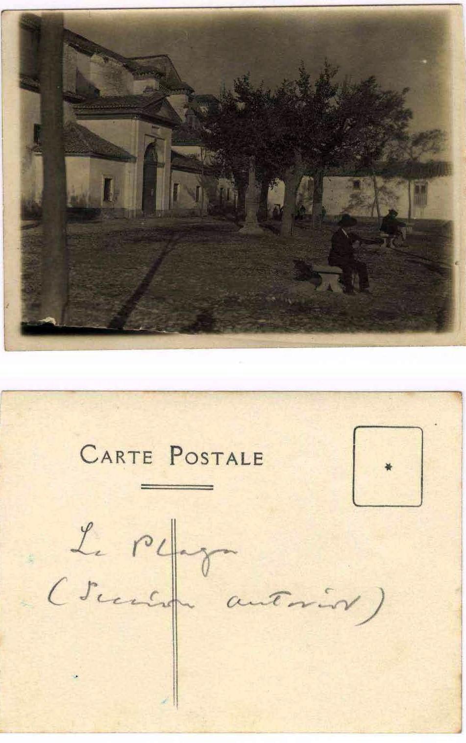 Plaza de San Nicolás en los años veinte en tarjeta enviada por Manuel de Falla a Ignacio Zuloaga.