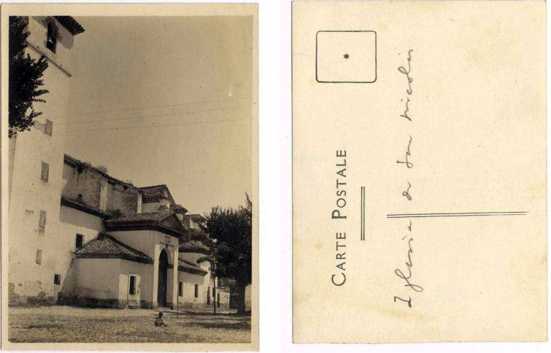 Iglesia de San Nicolás en los años veinte en tarjeta enviada por Manuel de Falla a Ignacio Zuloaga.