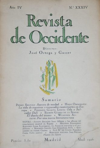 Revista de Occidente, cover of the issue in which the Ode to Salvador Dalí is published for the first time in 1926.