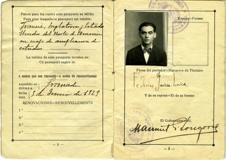 Pasaporte de Federico García Lorca expedido en Granada en junio de 1929.