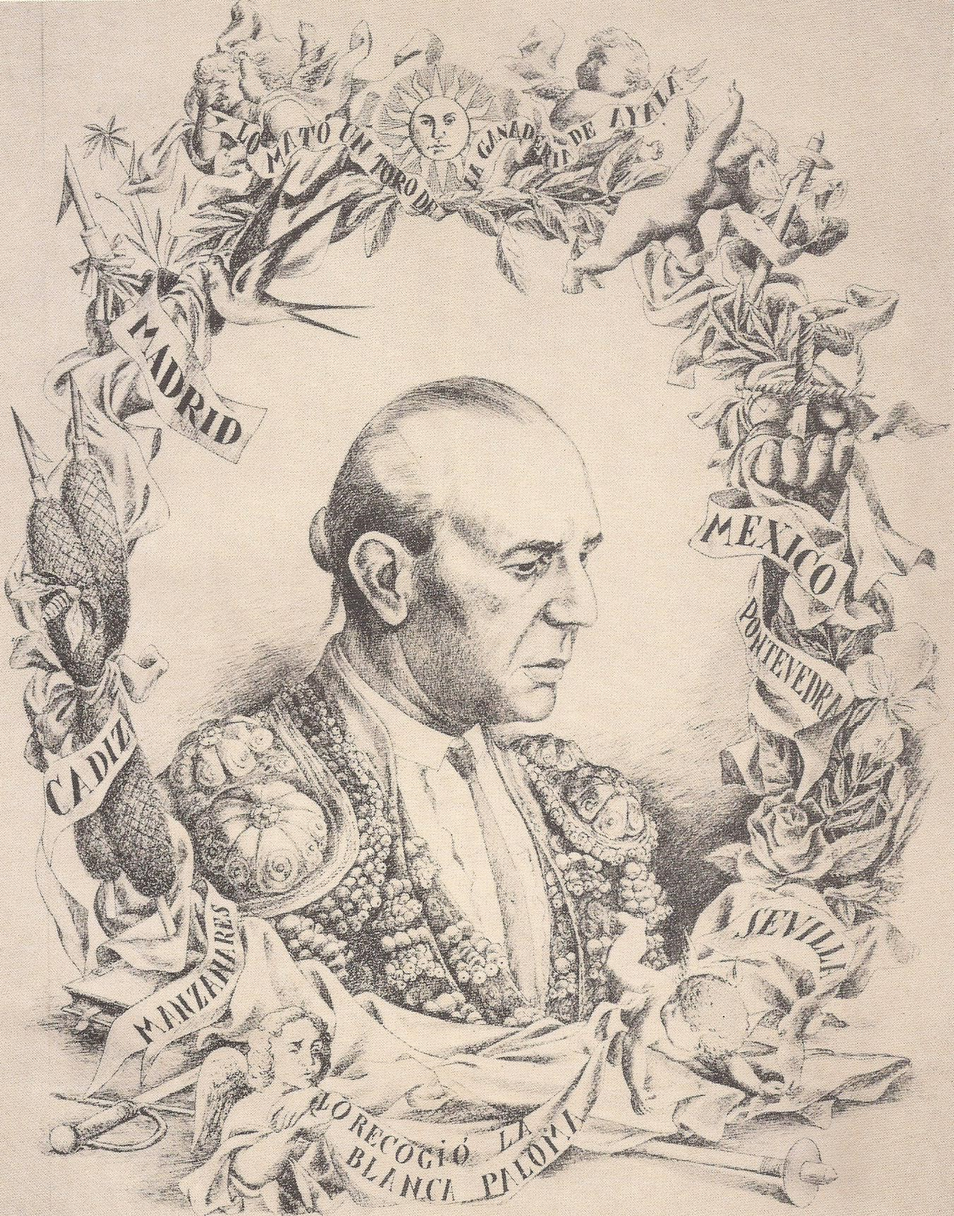 Ilustración de José Caballero para la primera edición. En ésta Lorca dudaba entre las palabras a elegir para poner en la orla. Cambió el nombre de la Virgen y se negó a que apareciera el nombre del toro que acabó con la vida del torero, Granadino.