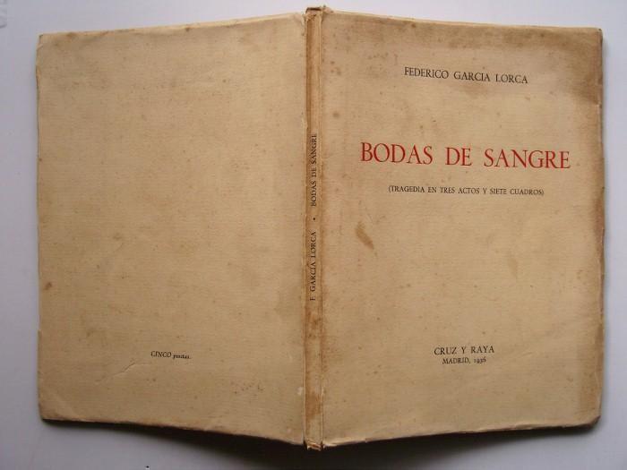 Primera edición de Bodas de sangre, en Cruz y raya, Madrid, 1936.