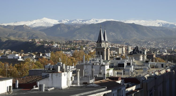Views of the Sierra Nevada from the terrace of the building at 50 Acera del Darro Street, which was the residence of Federico García Lorca's family in Granada.