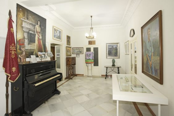 Foyer of the Artistic, Literary and Scientific Center of Granada, housing the piano once played by the young member Federico García Lorca.