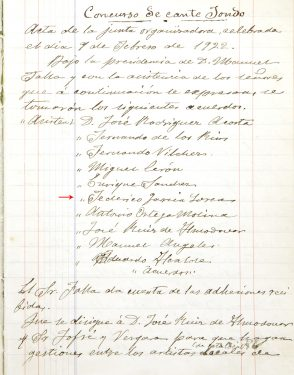 Minutes of the Organizing Board of the First Flamenco Song Contest. Among the members is Federico García Lorca.