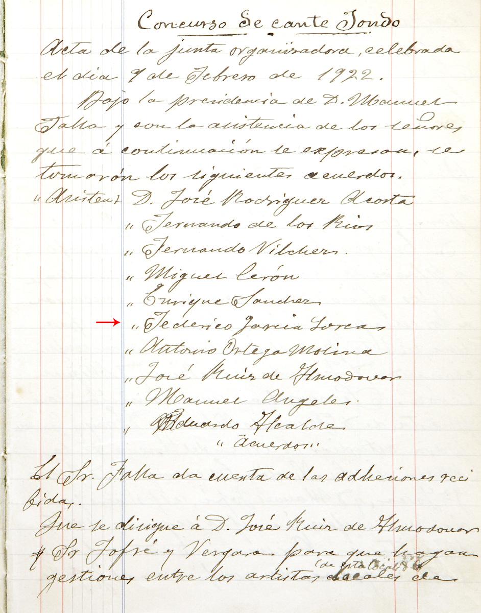 Acta de la Junta Organizadora del Primer Concurso de Cante Jondo. Entre los integrantes figura Federico García Lorca.