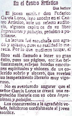 Press report on the first reading of Impressions and Landscapes at the Centro Artístico. El Defensor de Granada newspaper, March 18, 1918.