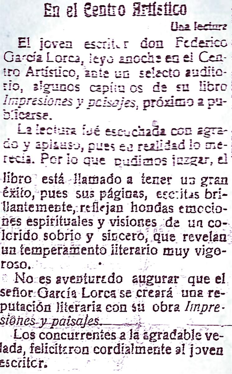 Noticia de prensa sobre la primera lectura de Impresiones y Paisajes en el Centro Artístico. El Defensor de Granada, 18 de marzo de 1918.