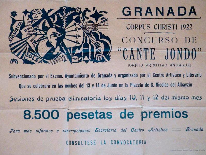 Cartel del Concurso de Cante Jondo elaborado conjuntamente por Manuel Ángeles Ortiz y Hermenegildo Lanz. En él figura la sede prevista inicialmente, la Plaza de San Nicolás.