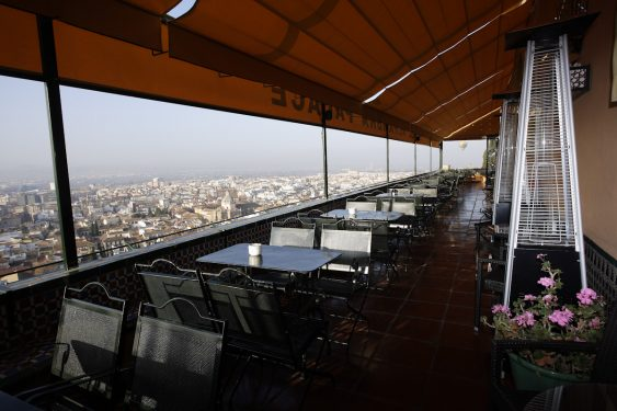 Terrace of the Alhambra Palace Hotel, with views over the city of Granada.