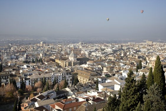 View of the city of Granada from the terrace of the Alhambra Palace Hotel.