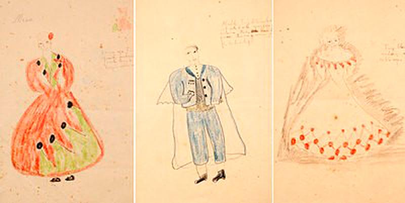 Tres de los figurines dibujados por Federico García Lorca para La Zapatera Prodigiosa. / Foto: Fundación FGL.