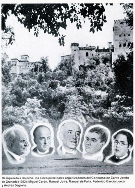 Organizadores del Concurso de Cante Jondo. Miguel Cerón es el primero por la izquierda.