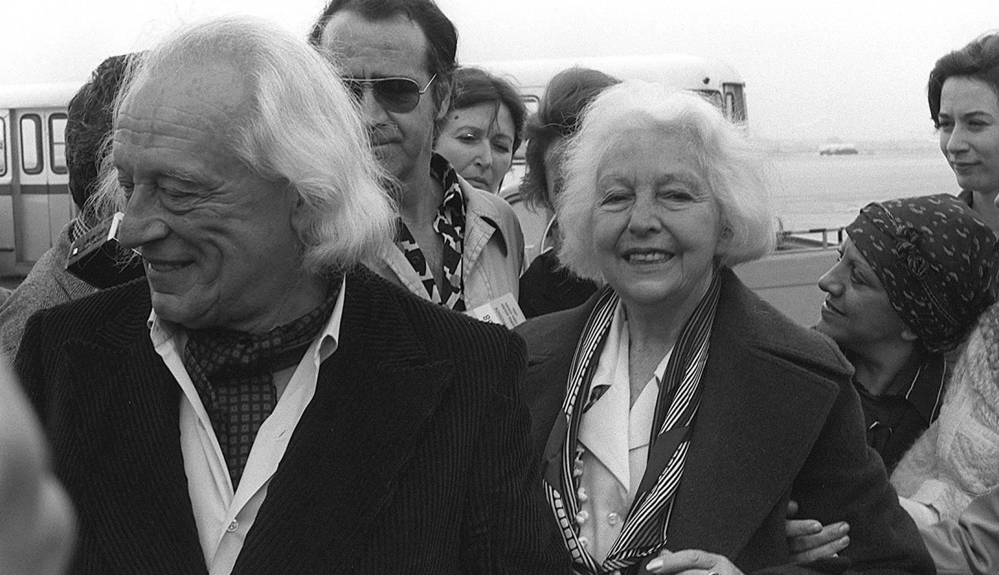 María Teresa León y Rafael Alberti, a su llegada a Madrid tras su largo exilio, en 1977. / Foto: El País