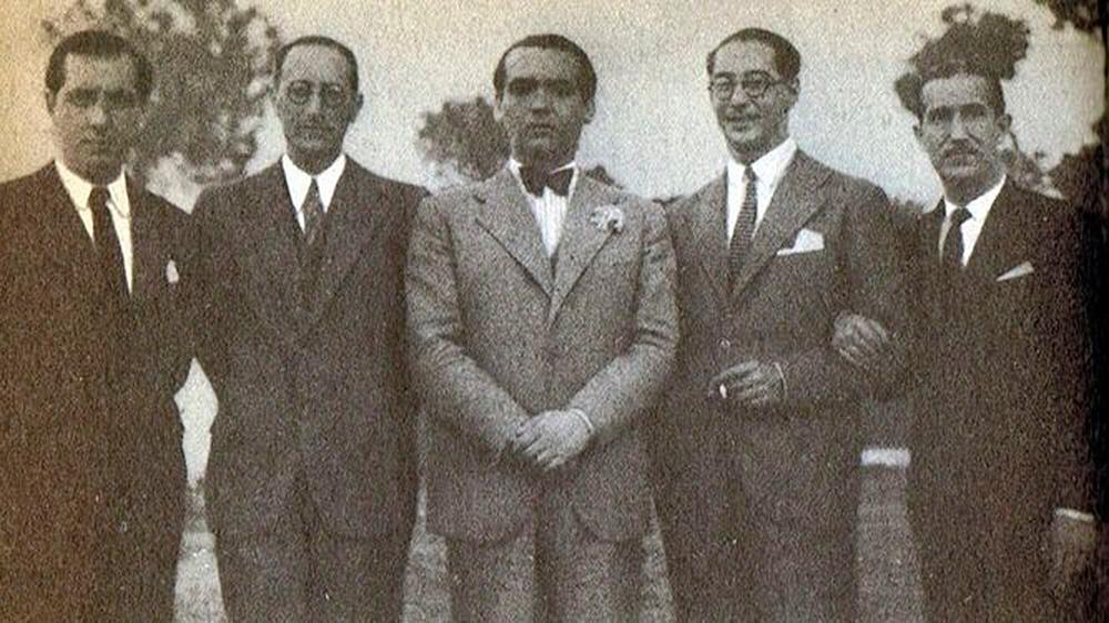 Joaquín Romero, Jorge Guillén, Federico García Lorca, José Antonio Rubio Sacristán y Pepín Bello en Sevilla en 1935.