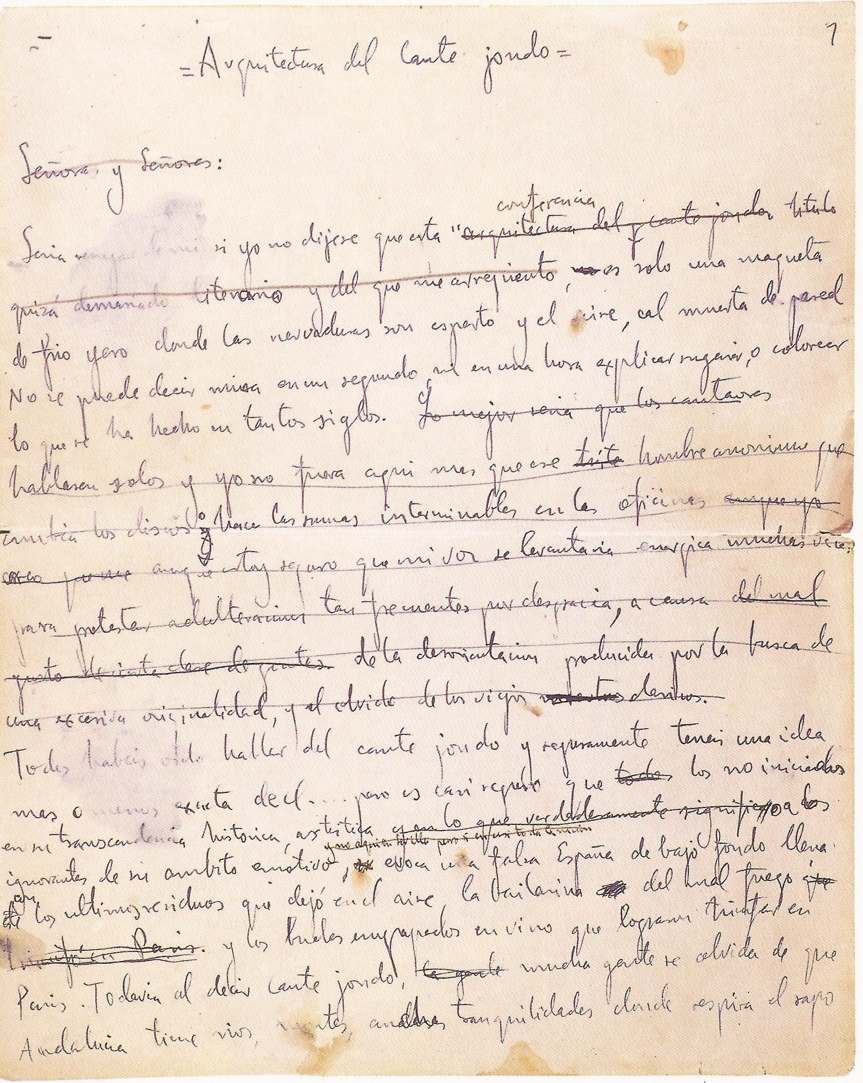 Página manuscrita de la conferencia de Lorca 'Arquitectura del cante jondo'.
