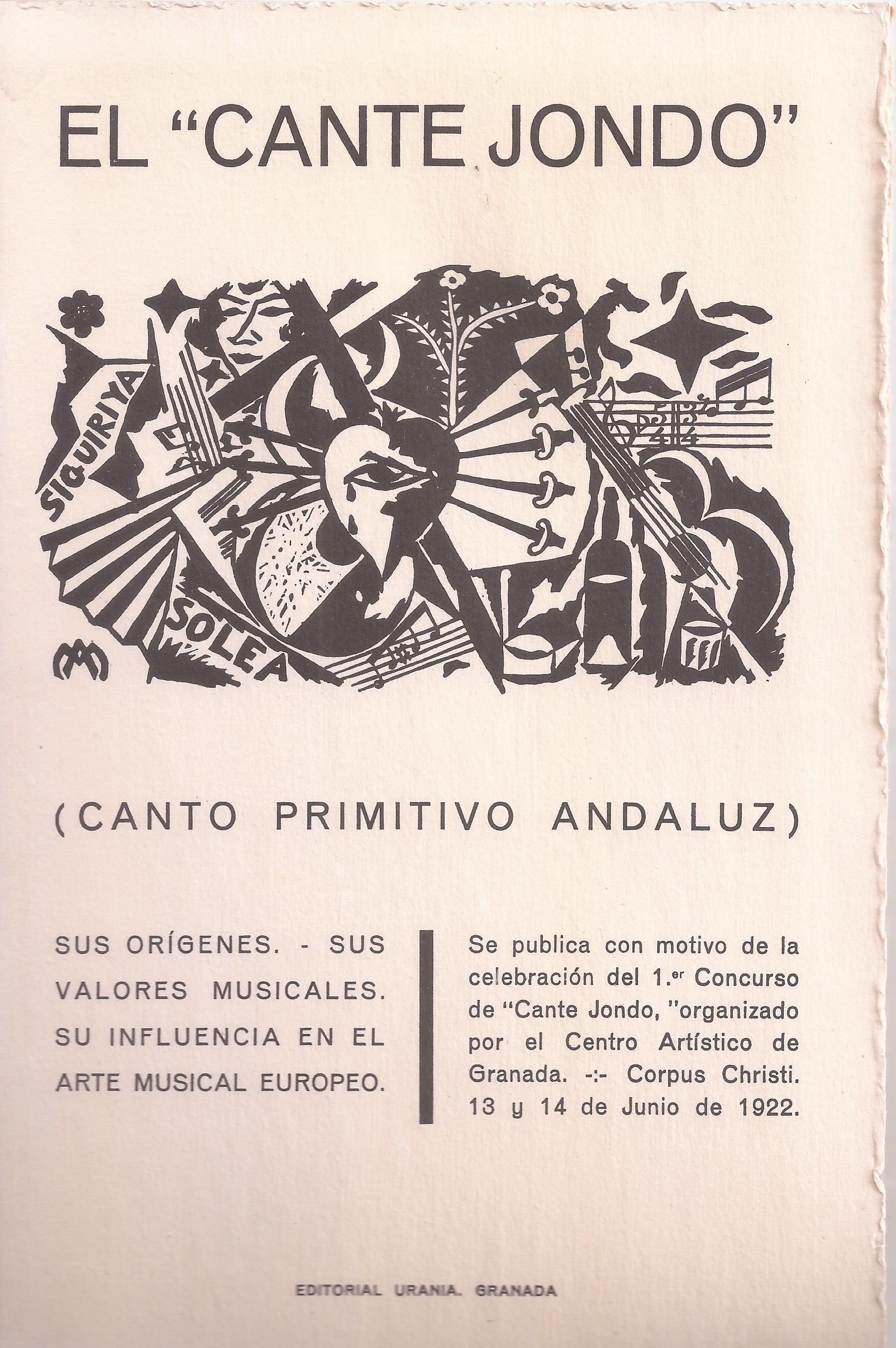Portada de la conferencia de Manuel de Falla sobre el concurso de Cante Jondo.
