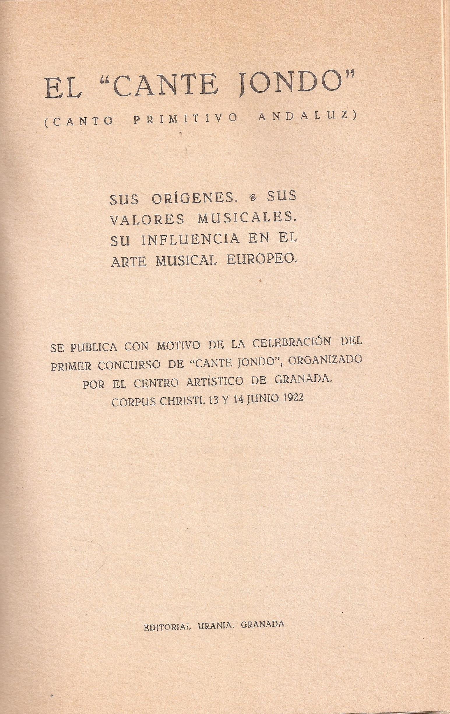 Portadilla interior de la conferencia de Manuel de Falla sobre el Concurso de Cante Jondo.