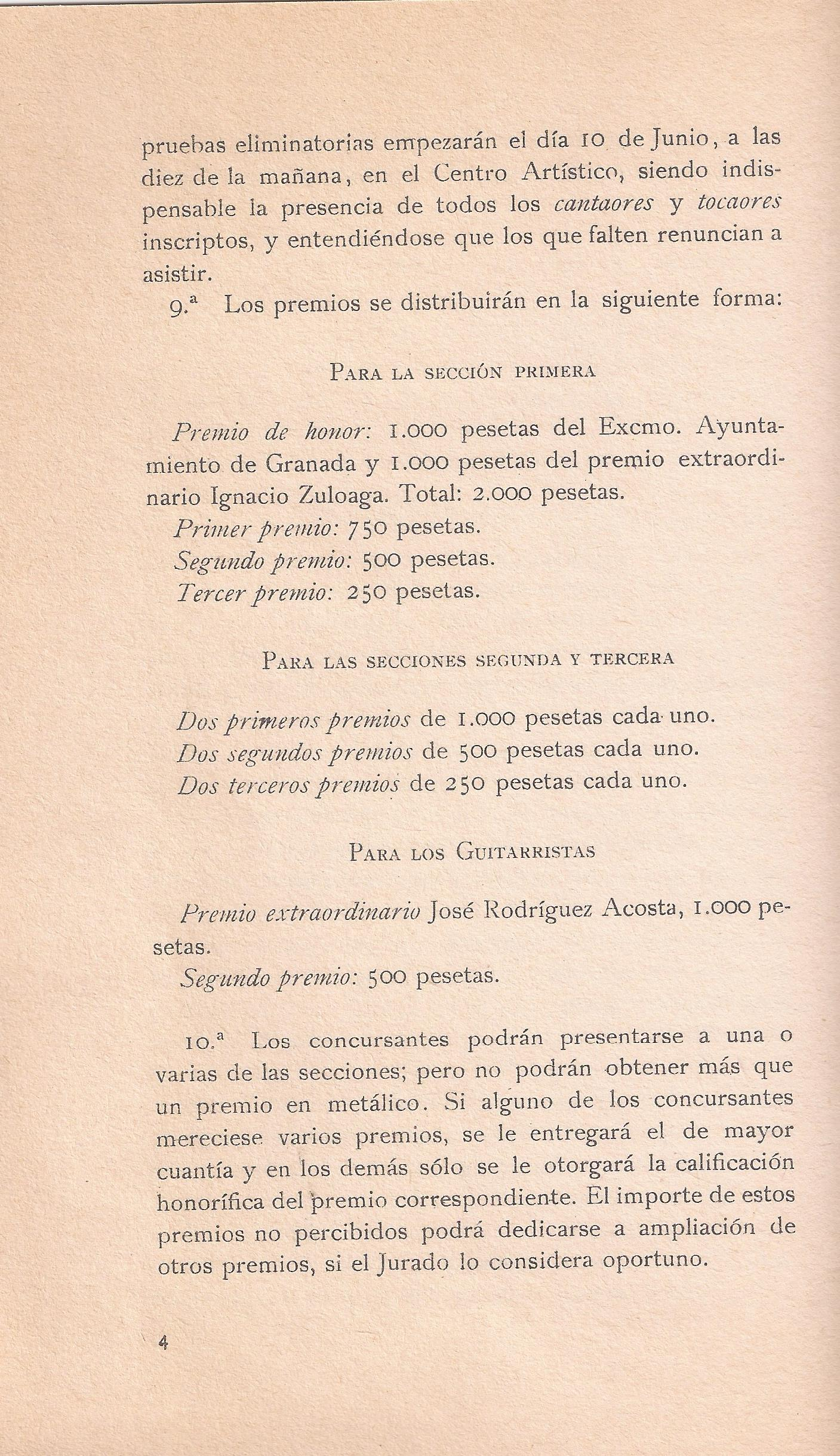 Prizes of the Flamenco Song Contest.
