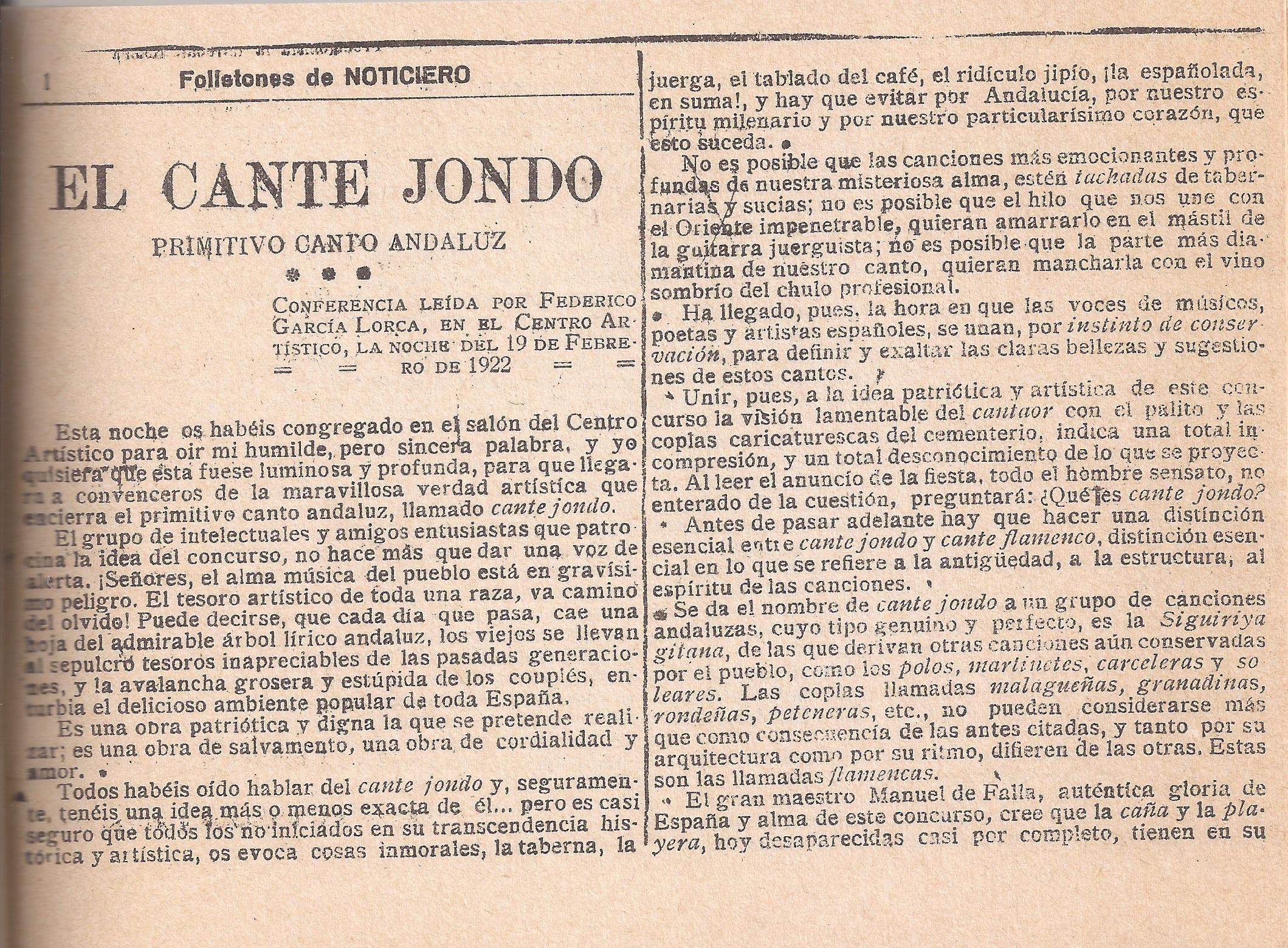 Primera entrega del folletón con la conferencia de Lorca sobre el cante jondo pronunciada en el Centro Artístico de Granada.