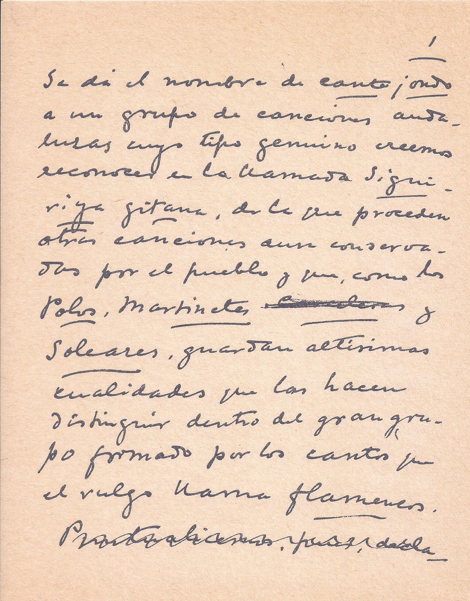 Primera página manuscrita del artículo de Manuel de Falla sobre el Cante Jondo.